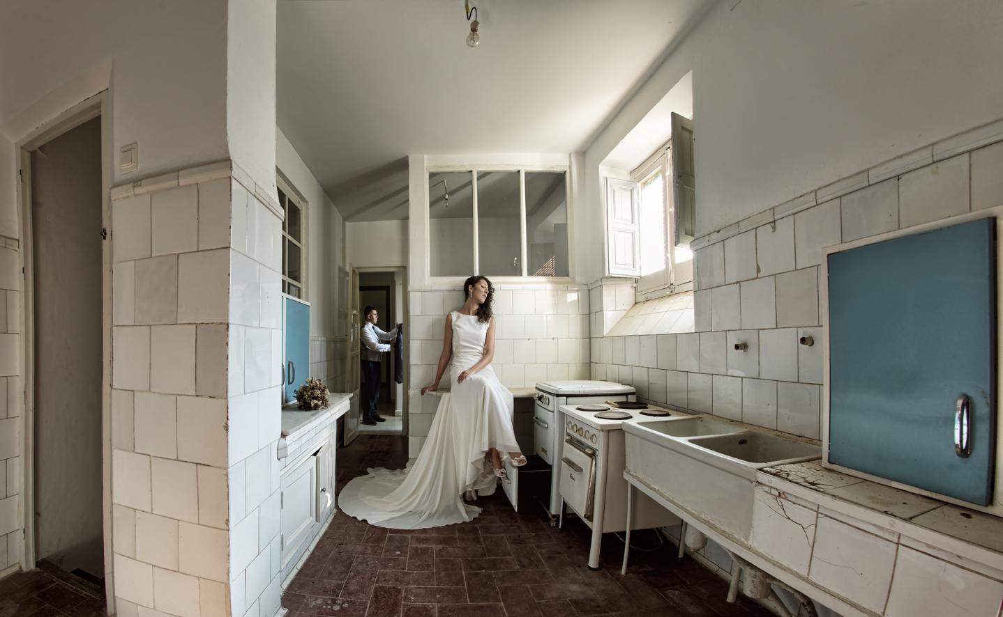 fotos boda novia cocina