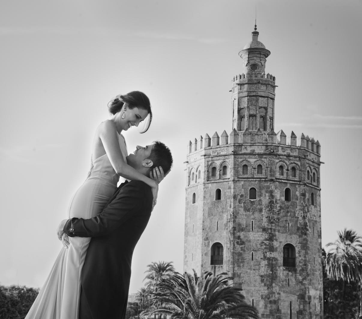 Fotografías Torre del Oro boda Sevilla